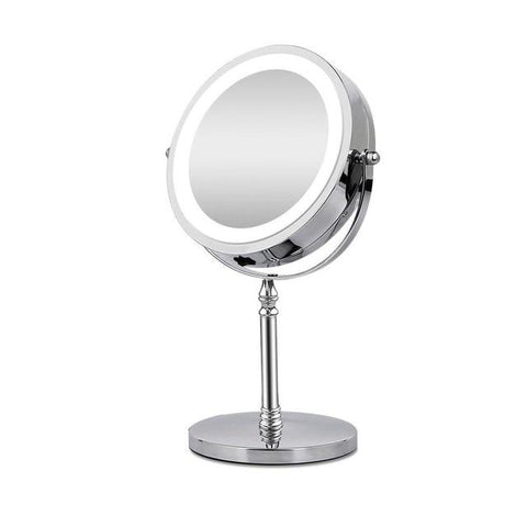 10x Magnifying Silver Double Sided Round Makeup Mirror With LED Light