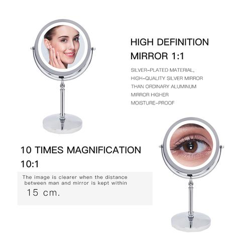 Best Price 10x Magnifying Silver Double Sided Round Table Makeup Mirror With LED Light