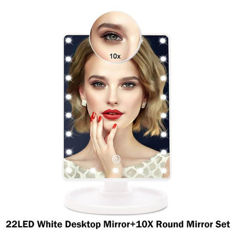 Touch Screen Countertop LED Light Makeup MIrror with 1x, 10x Magnification