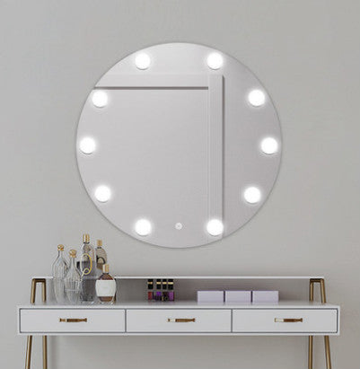 Eye-protecting Round Wall Mounted Hollywood Mirror Customizable