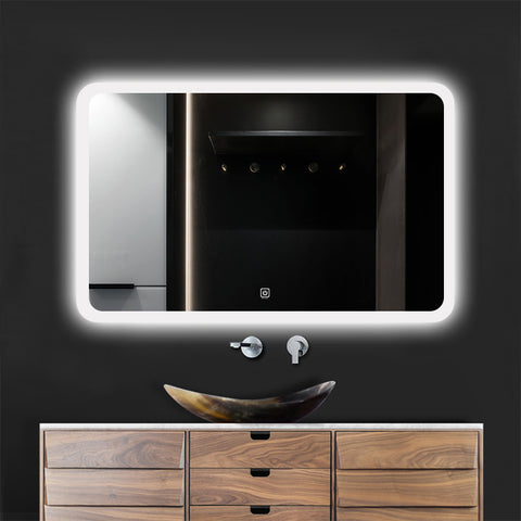 Modern Slim LED  Mirror IP66 with Demister Pad Wall Mounted Makeup Mirror