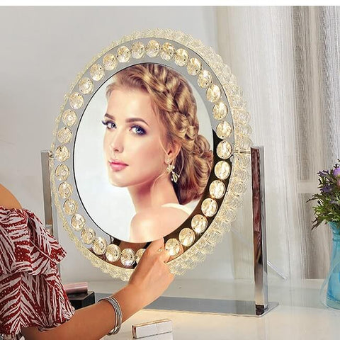 Oval Crystal Diamond Desktop Led Mirror for Daily Makeup
