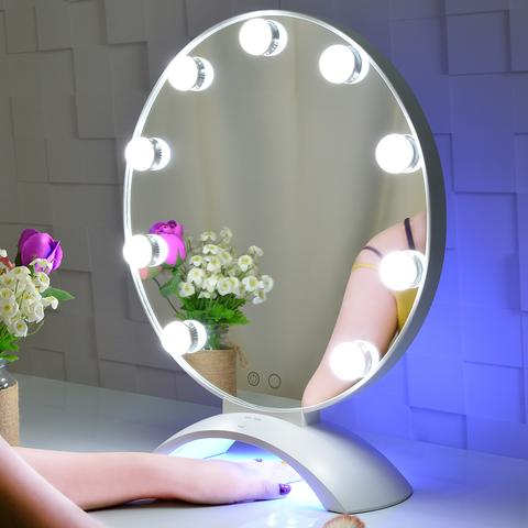 UV Nail Round Lighted Hollywood Vanity Mirror