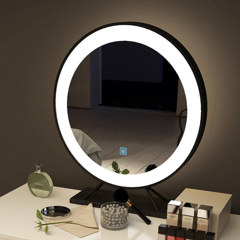 Led vanity mirror with stand