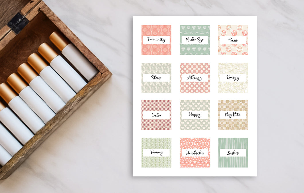 Printable Roller Bottle Labels - The Ophelia Collection