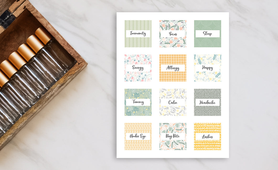 Printable Roller Bottle Labels - The Angela Collection