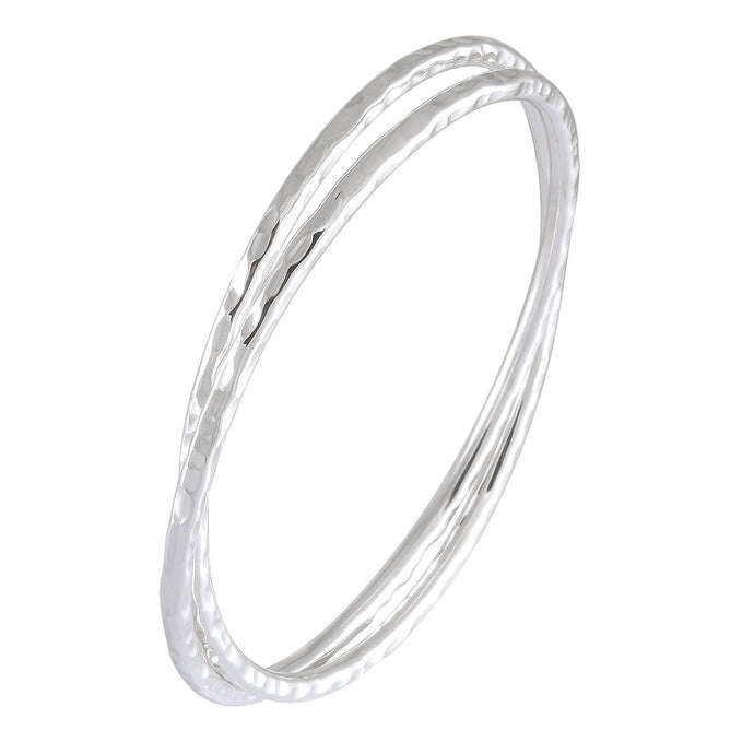 twin rounded bangle with hummer style in 925 sterling silver - SUVARNASILVERCO.,LTD