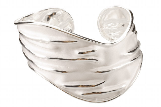 wave silver bangle with sad brush finishing in 925 sterling silver - SUVARNASILVERCO.,LTD