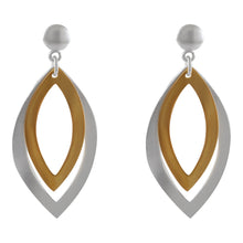 Load image into Gallery viewer, dangle drop post earring with sand brush finishing with gold plating over 925 sterling silver - SUVARNASILVERCO.,LTD
