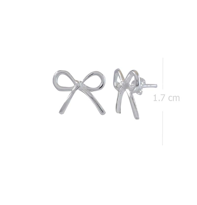 bow stud earring post with high polish finishing in 925 sterling silver - SUVARNASILVERCO.,LTD