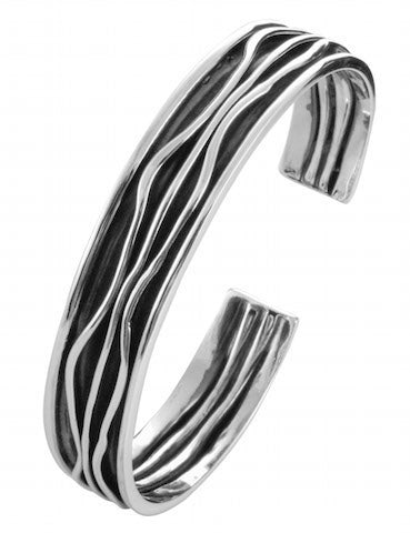 oxidize wave bangle with high polish finishing in 925 sterling silver - SUVARNASILVERCO.,LTD