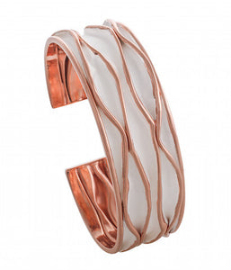 cuff bangle wave style rose gold over 925 sterling silver - SUVARNASILVERCO.,LTD