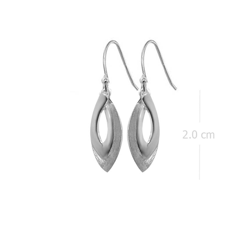 marquise drop earring with sand brush finishing in 925 sterling silver - SUVARNASILVERCO.,LTD