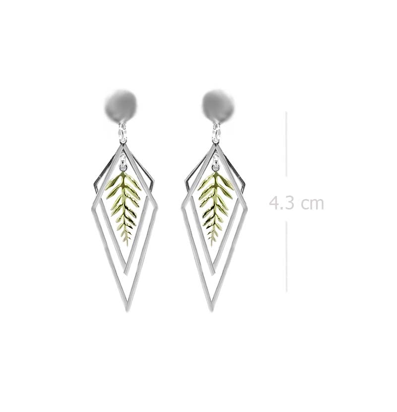 dangle drop post earring with leaf designs and yellow gold plating in 925 sterling silver - SUVARNASILVERCO.,LTD