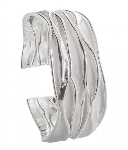 wave style cuff bangle with sand brush finishing in 925 sterling silver - SUVARNASILVERCO.,LTD