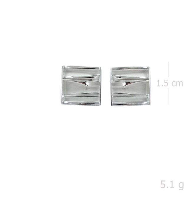 square post earring with handmade wave style in 925 sterling silver - SUVARNASILVERCO.,LTD