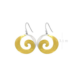 spiral dangle drop earring with yellow gold over 925 sterling silver - SUVARNASILVERCO.,LTD