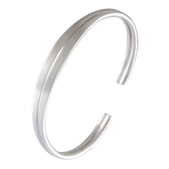 double line cuff bangle in 925 sterling silver with high polish finishing - SUVARNASILVERCO.,LTD