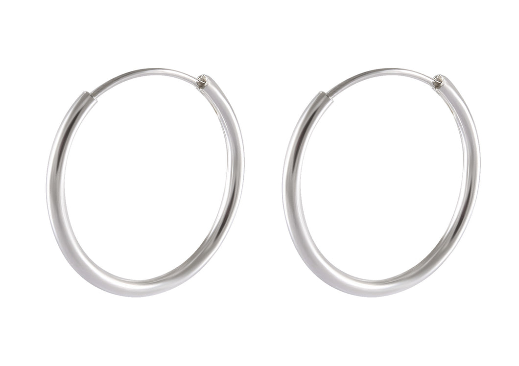 plain hoop earring in 925 sterling silver - SUVARNASILVERCO.,LTD