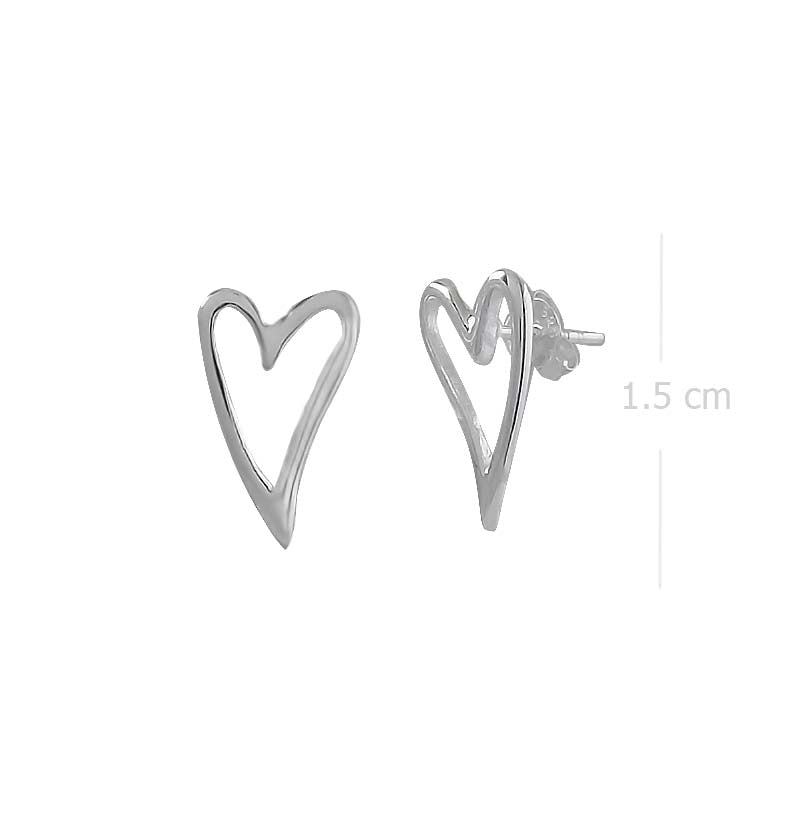 hearts love post earring with high polish finishing in 925 sterling silver - SUVARNASILVERCO.,LTD