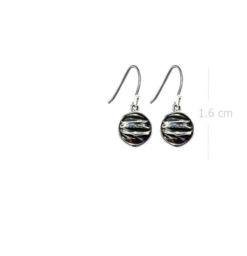 oxidize round drop earring with wave style in 925 sterling silver - SUVARNASILVERCO.,LTD