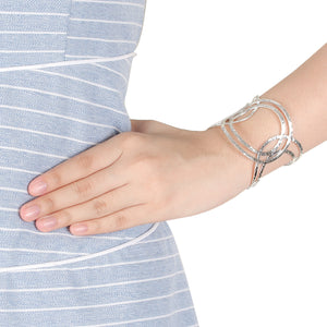 infinity bangle with hummer style in 925 sterling silver - SUVARNASILVERCO.,LTD