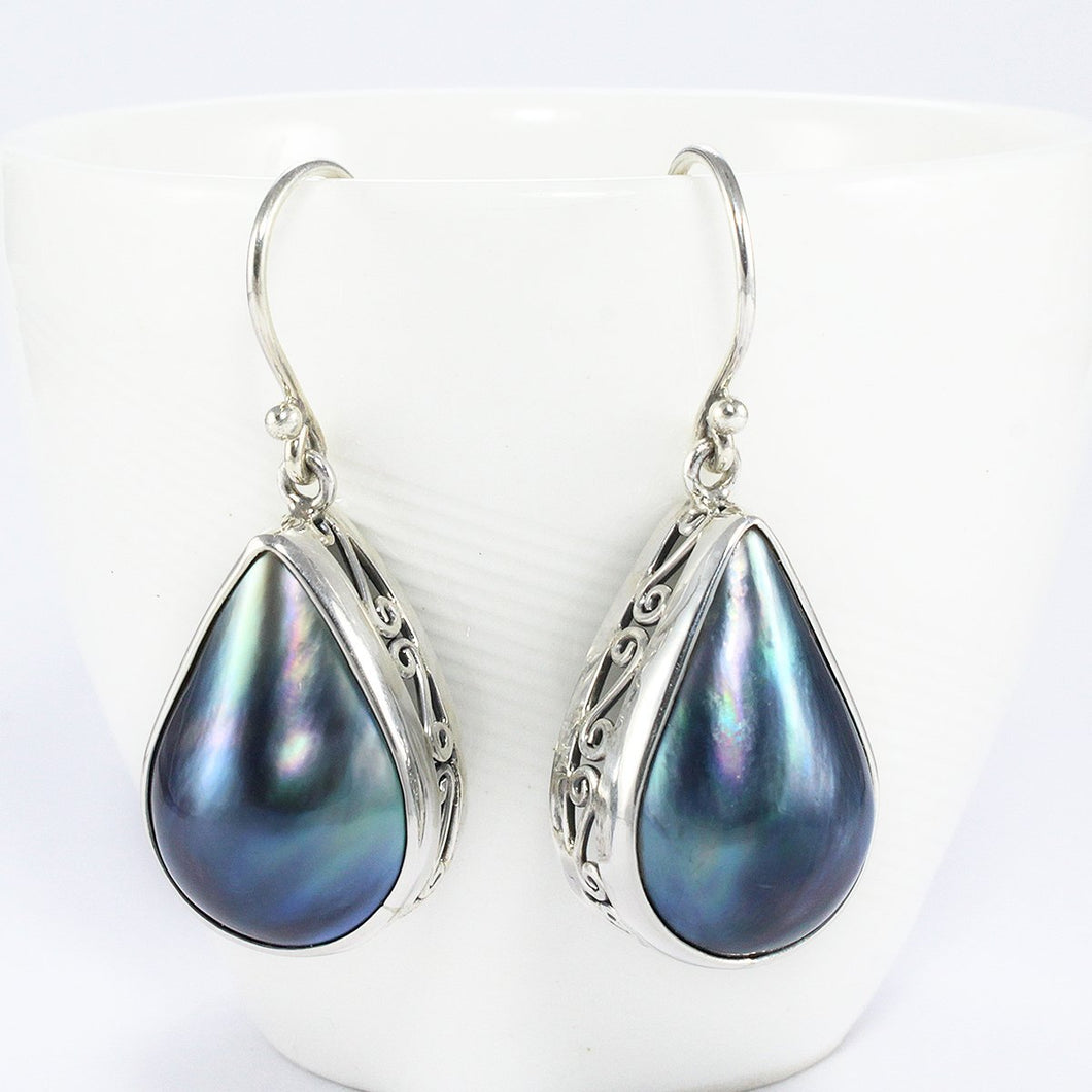 925 Sterling silver dangle drop earrings with genuine blue mabe pearl - SUVARNASILVERCO.,LTD