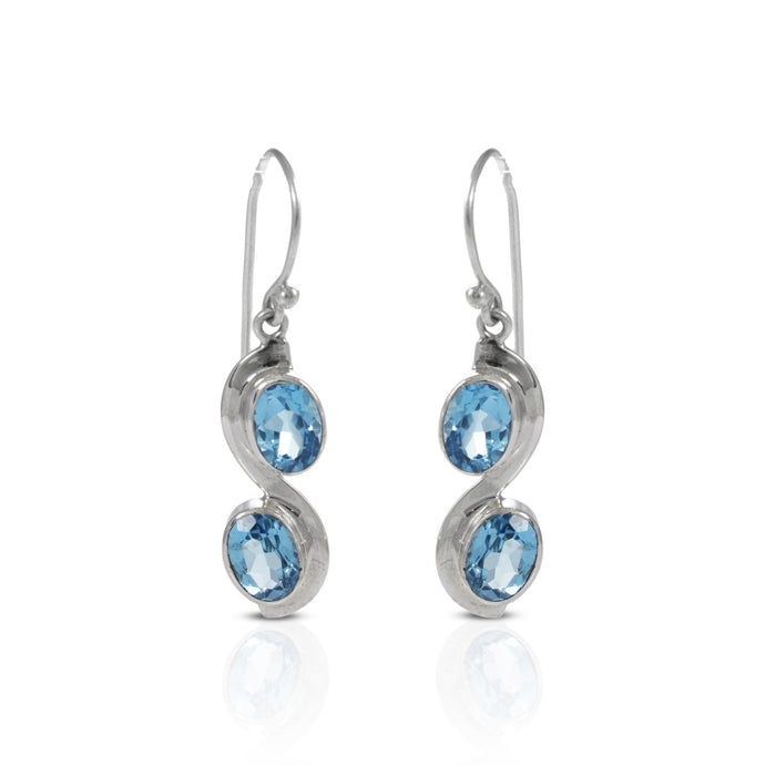 925 sterling silver earring with genuine blue topaz and peridot stone - SUVARNASILVERCO.,LTD