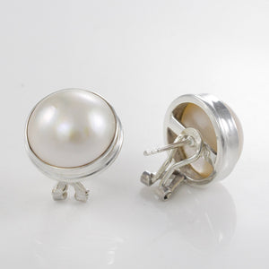 925 Sterling Silver Omega Clip Earrings with Genuine White Mabe Pearl - SUVARNASILVERCO.,LTD