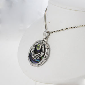 Bali Bamboo 925 sterling silver pendant with genuine gems stone and mother of shell - SUVARNASILVERCO.,LTD