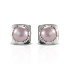 Load image into Gallery viewer, Bezel dyed pink mabe pearl cultured set in 925 sterling silver stud earrings, beautiful stud earrings for women - SUVARNASILVERCO.,LTD