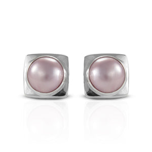 Bezel dyed pink mabe pearl cultured set in 925 sterling silver stud earrings, beautiful stud earrings for women - SUVARNASILVERCO.,LTD