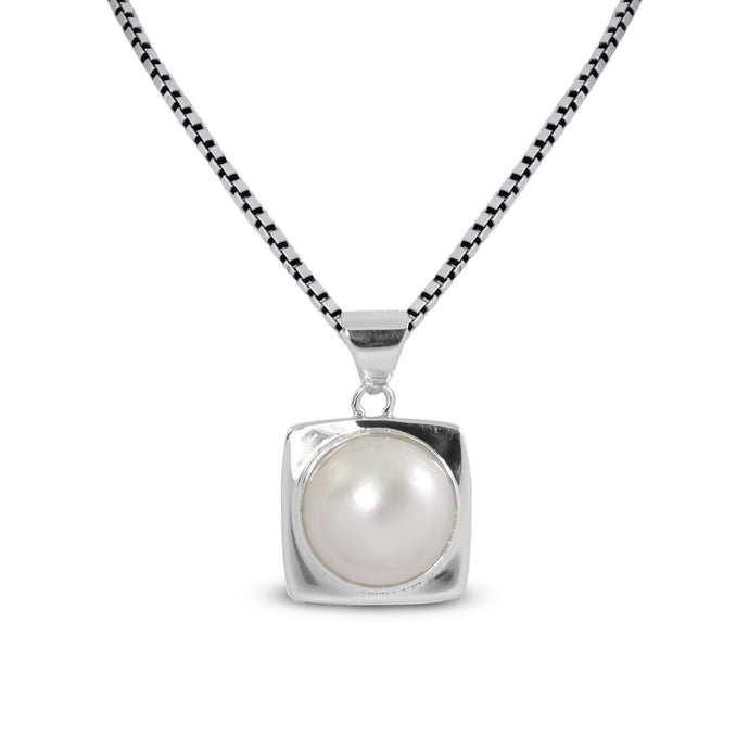 Square Pendant with Bezel dyed mabe pearl cultured set in 925 Sterling silver pendant - SUVARNASILVERCO.,LTD