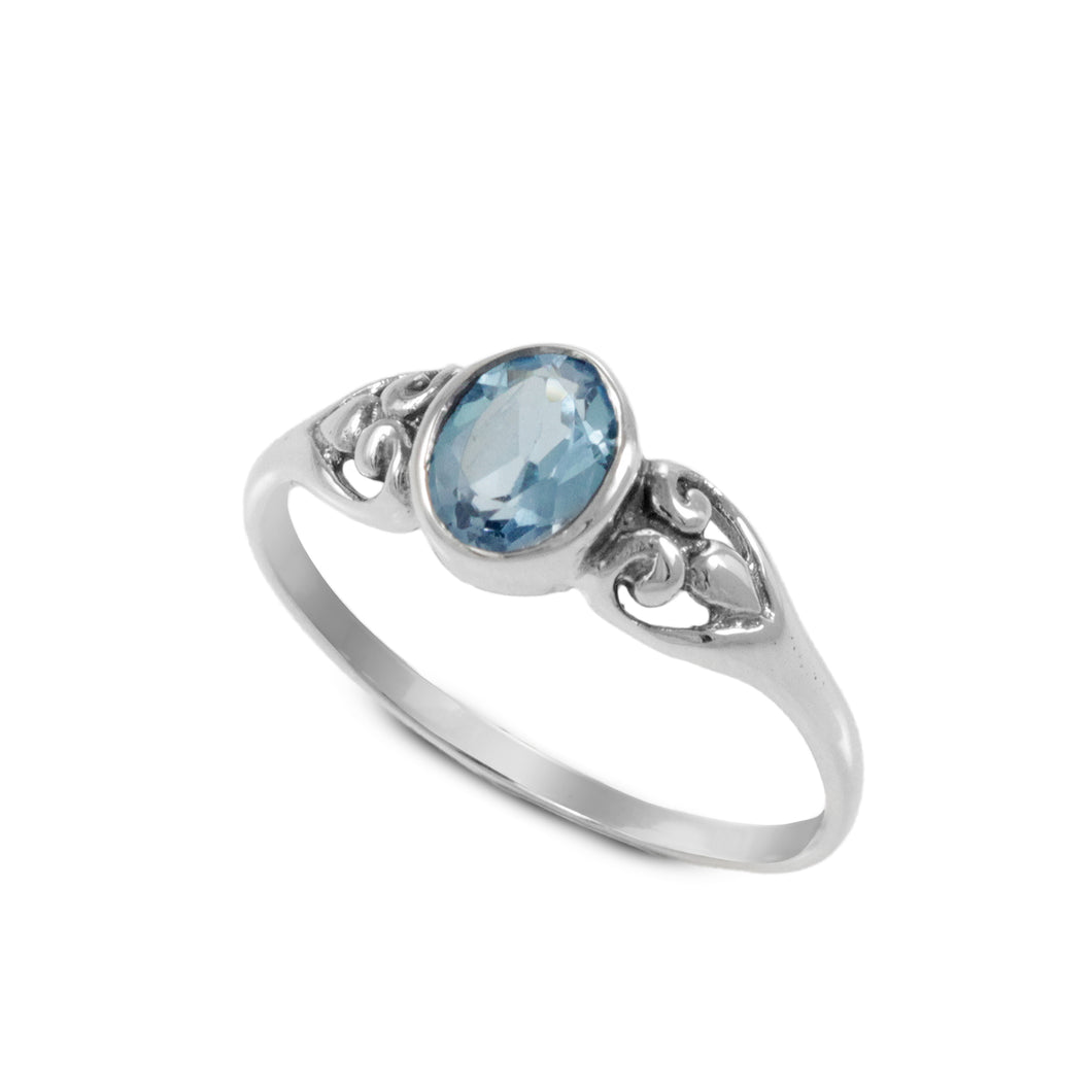 solitaire ring with genuine oval gems stones set in 925 sterling silver - SUVARNASILVERCO.,LTD
