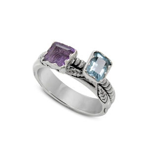 Friendship leaf design ring with genuine amethyst and genuine blue topaz set in 925 sterling silver, beautiful ring for women