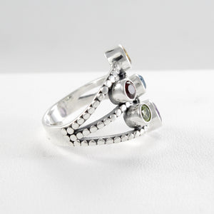 Multicolored ring with genuine gemstone and natural freshwater pearl ring set in 925 sterling silver, beautiful ring for women - SUVARNASILVERCO.,LTD