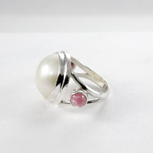 Friendship ring with genuine tourmaline and natural white mabe pearl ring set in 925 sterling silver, beautiful ring for women - SUVARNASILVERCO.,LTD