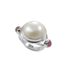 Load image into Gallery viewer, Friendship ring with genuine tourmaline and natural white mabe pearl ring set in 925 sterling silver, beautiful ring for women - SUVARNASILVERCO.,LTD