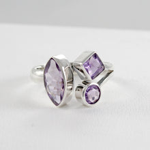 Load image into Gallery viewer, Friendship bypass ring with genuine amethyst set in 925 sterling silver, beautiful ring for women