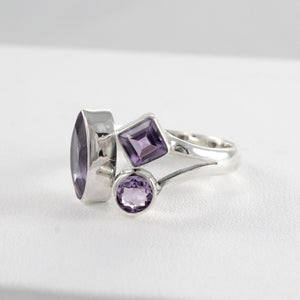Friendship bypass ring with genuine amethyst set in 925 sterling silver, beautiful ring for women