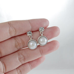 Natural round fresh water pearl dangle drop leaf design earrings set in 925 sterling silver ,beautiful stud earrings for women - SUVARNASILVERCO.,LTD