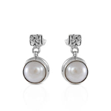Load image into Gallery viewer, Natural round fresh water pearl dangle drop leaf design earrings set in 925 sterling silver ,beautiful stud earrings for women - SUVARNASILVERCO.,LTD