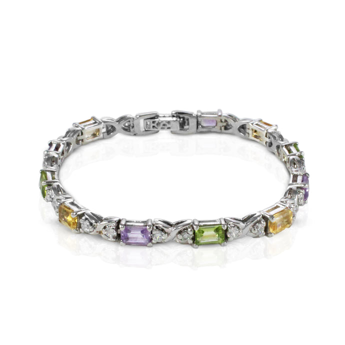 Multi color gems stone bracelet in sterling silver with rhodium finishing - SUVARNASILVERCO.,LTD