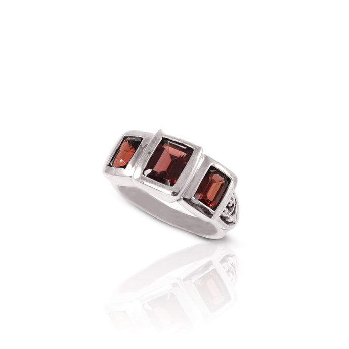 Three stone ring with genuine garnet set in 925 sterling silver, beautiful ring for women - SUVARNASILVERCO.,LTD