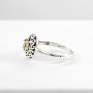 Filigree Ring Design 925 Sterling Silver Ring with Genuine Gems Stone - SUVARNASILVERCO.,LTD
