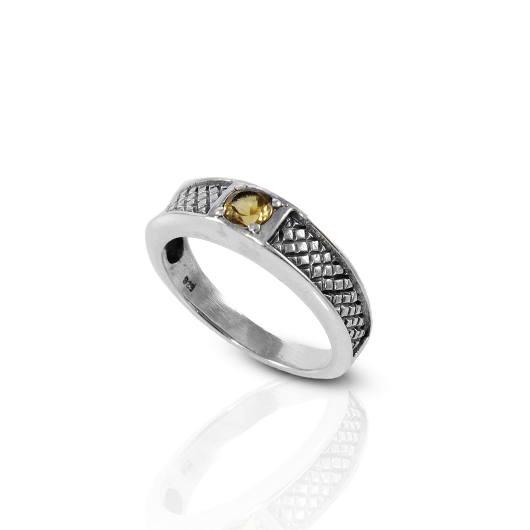 Mat Woven 925 Sterling Silver Ring with Genuine Brazilian Citrine Stone - SUVARNASILVERCO.,LTD