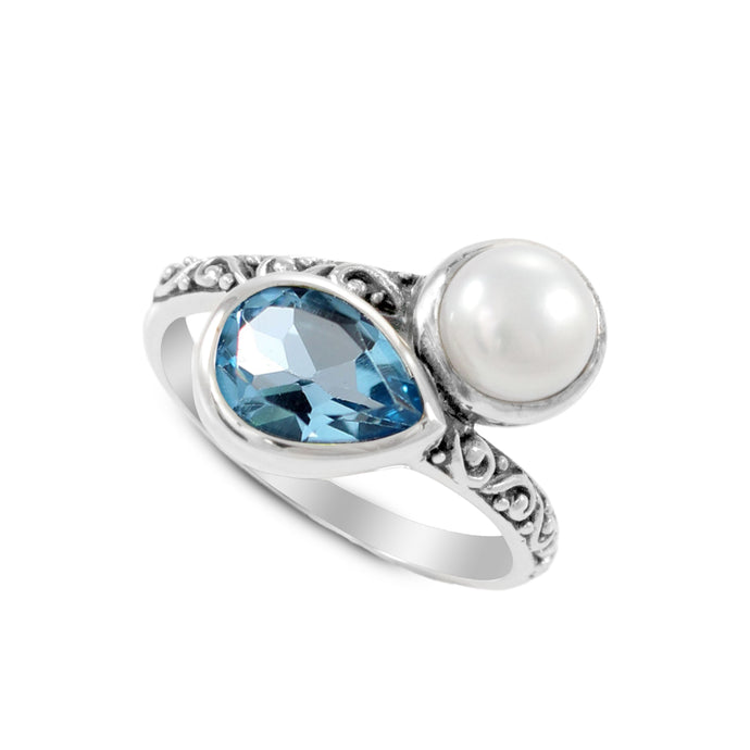 Friendship bypass ring with genuine blue topaz and natural freshwater pearl set in 925 sterling silver, beautiful ring for women - SUVARNASILVERCO.,LTD