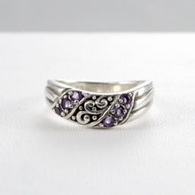 Cargar imagen en el visor de la galería, Filigree Bali design with natural garnet ring set in 925 sterling silver - SUVARNASILVERCO.,LTD