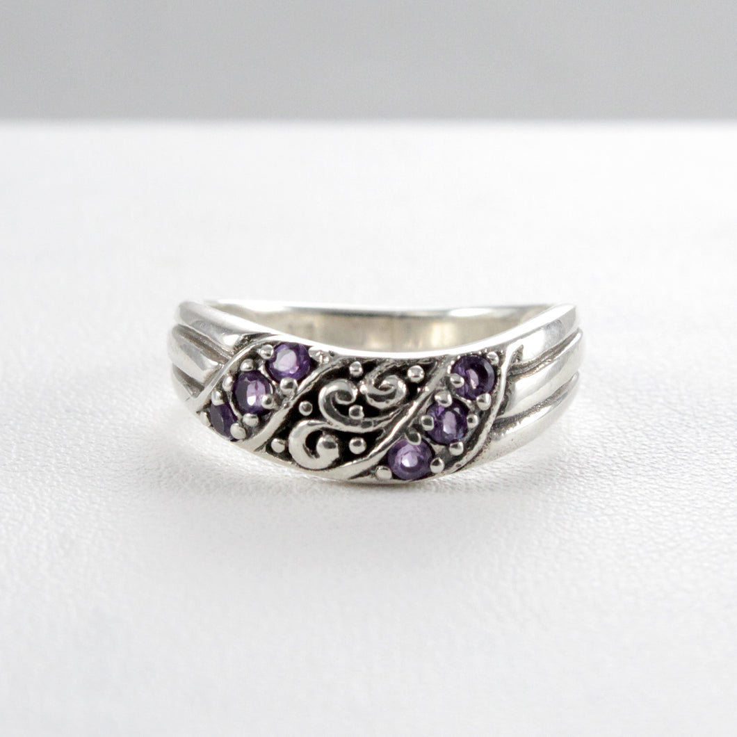 Filigree Bali design with natural garnet ring set in 925 sterling silver - SUVARNASILVERCO.,LTD