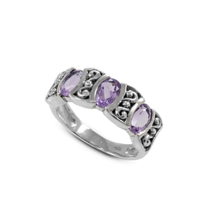 Three stone ring with genuine amethyst set in 925 sterling silver, beautiful ring for women - SUVARNASILVERCO.,LTD